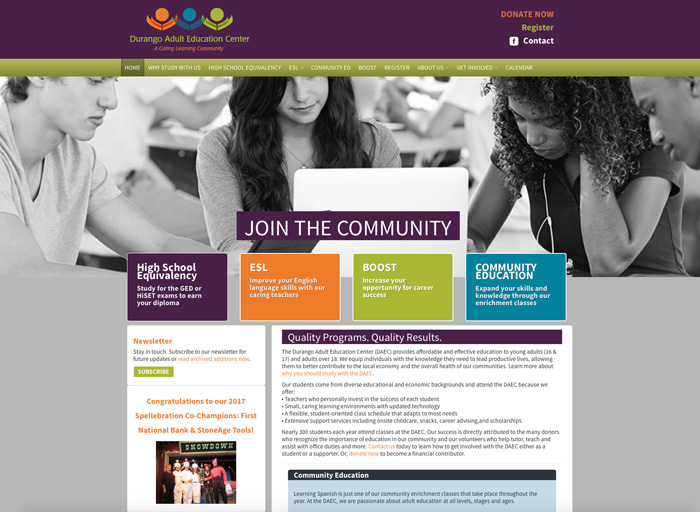 Website Design Durango Adult Education Center