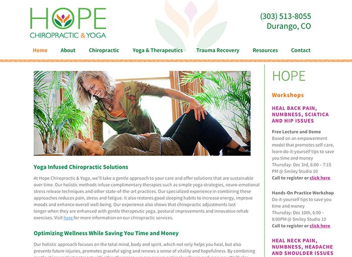 Website Design Hope Chiropractic & Yoga