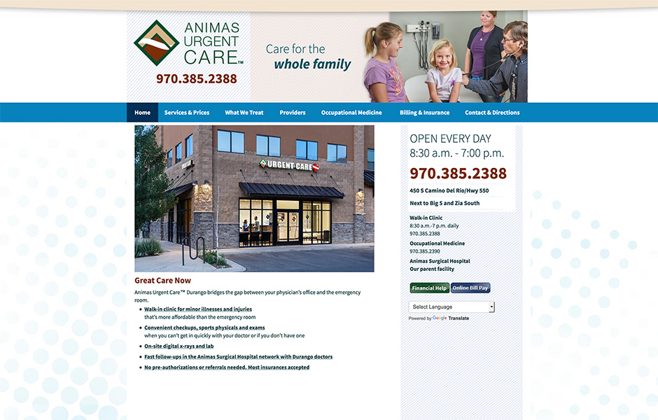 Animas urgent care home page