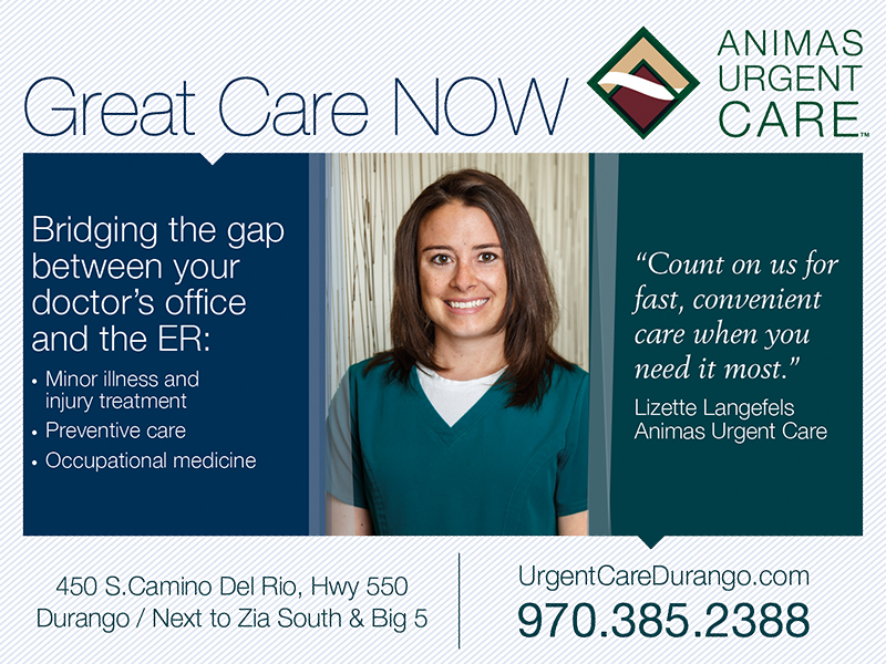 Animas Urgent care print ad