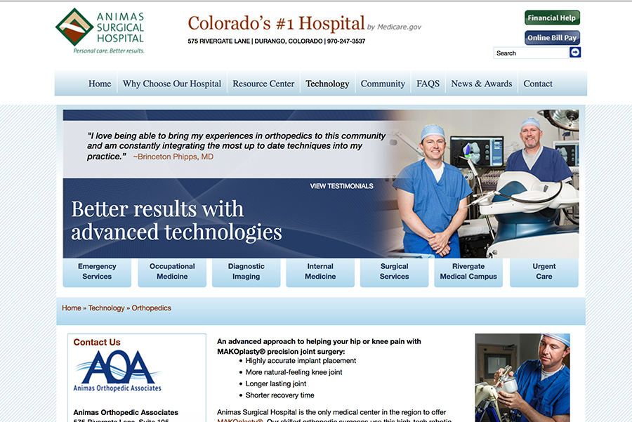 Animas Surgical home page