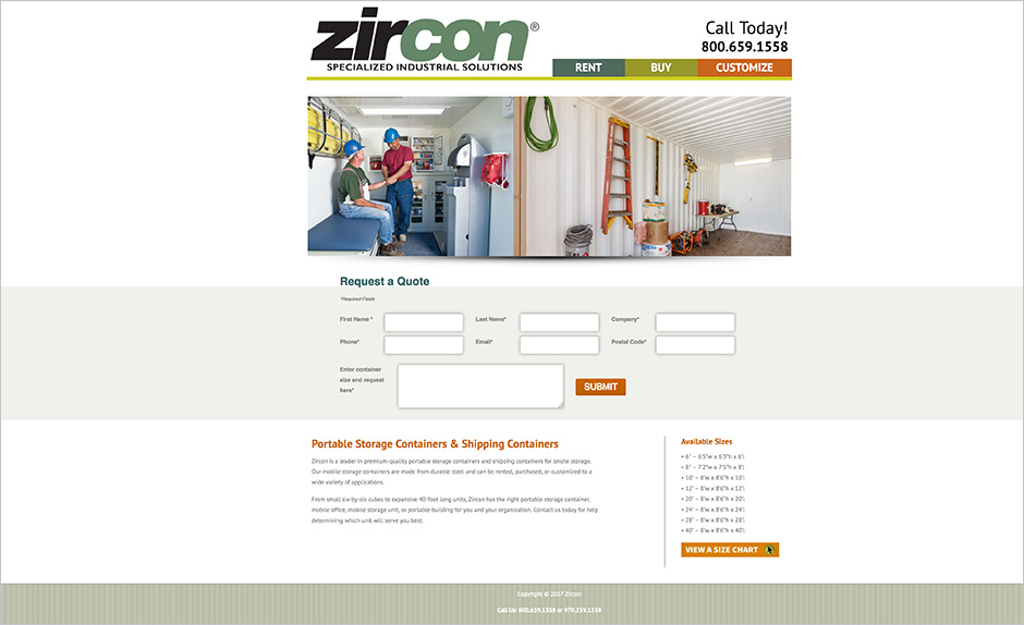 Zircon container contact page