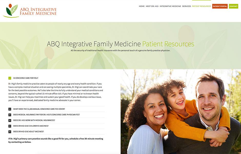abq integrative family medicine webites patient resources page